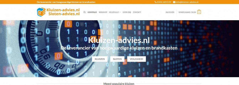 een afbeelding van de website van kluizen-advies.nl